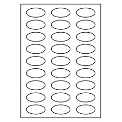 50 x 25 mm Oval 100 Blatt p. boîte BLANC GLOSSY