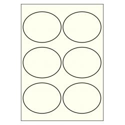 99 x 80 mm ovale ivoire 100 feuilles p.boîte