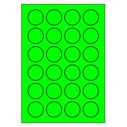 100 feuilles p.boîte rondes 40 mm VERT FLUOR